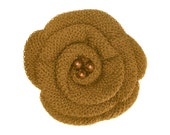 Old Gold Crochet Hair Flowers, Crochet Hair Flower Clips, Ashley Hair Clip