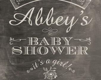 Printable Baby Shower Invite - Worn Chalkboard Look 5 x 7 Print - Digital File Only