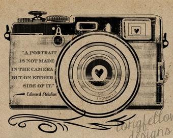 Edward Steichen Quote - Retro Camera - Kraft / Grain Look 11 x 14 Print