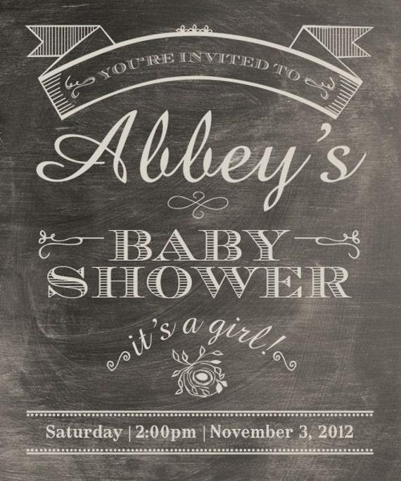 printable baby shower invite worn chalkboard by longfellowdesigns, Baby shower invitations