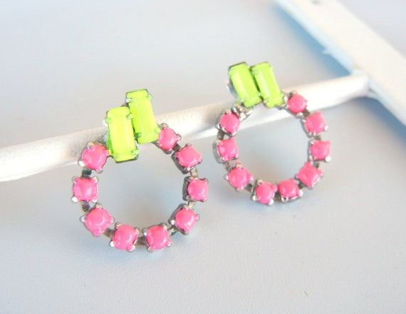 Vintage 1950s One Of A Kind Fabulous Neon Yellow and Pink Rhinestone Earrings