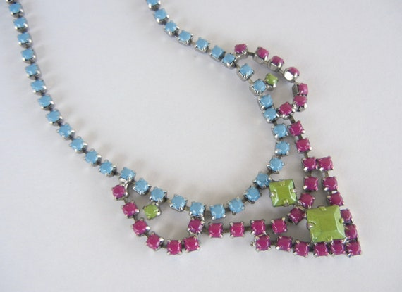 SALE was 40 Vintage 1950s One Of A Kind Hand Painted Purple French Blue and Green Rhinestone Necklace