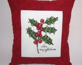 Christmas Cross Stitch Pillow, Red Pillow, Sprig of Holly