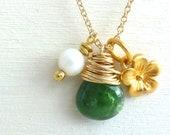 Flower Charm Necklace Gold Filled Jewelry Emerald Green Tsavorite Garnet Briolette