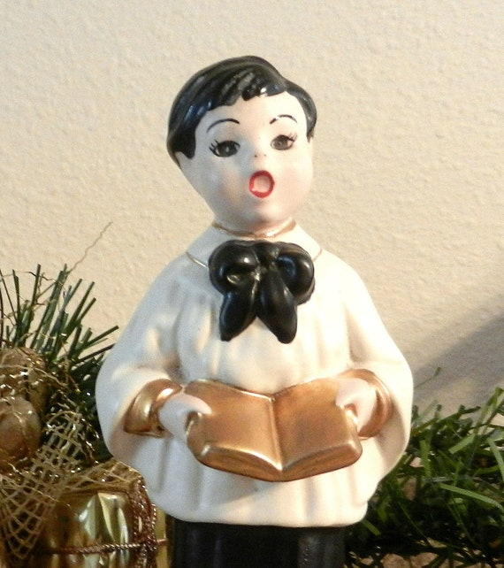 Vintage Ceramic Christmas Carolers Choir Boy And Girl: Vintage Ceramic Holiday Choir Boy Christmas Decoration
