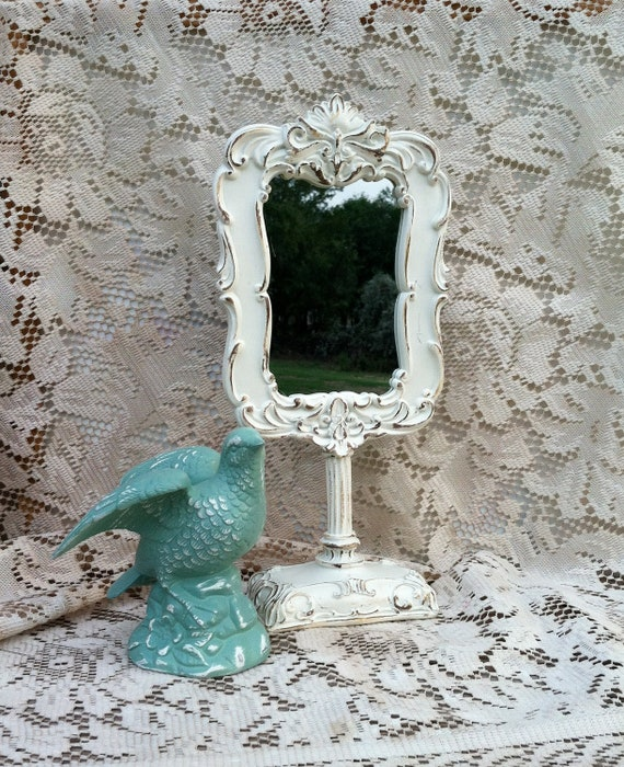 Country French White Ornate Standing Mirror / Shabby Chic Bedroom