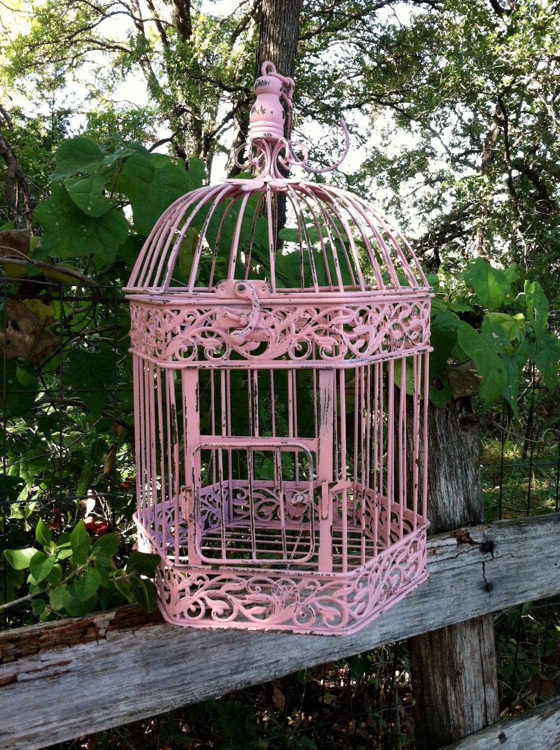 victorian pink shabby chic bird cage hanging bird cage. Black Bedroom Furniture Sets. Home Design Ideas