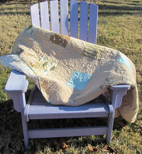 Modern Quilt:  Summer Beach Throw, Aqua and Brown