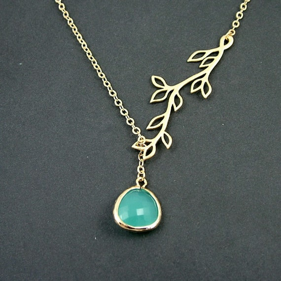 10% SALE - Opal Mint Drop and Gold Branch Necklace, Branch Lariat, Glass Drop