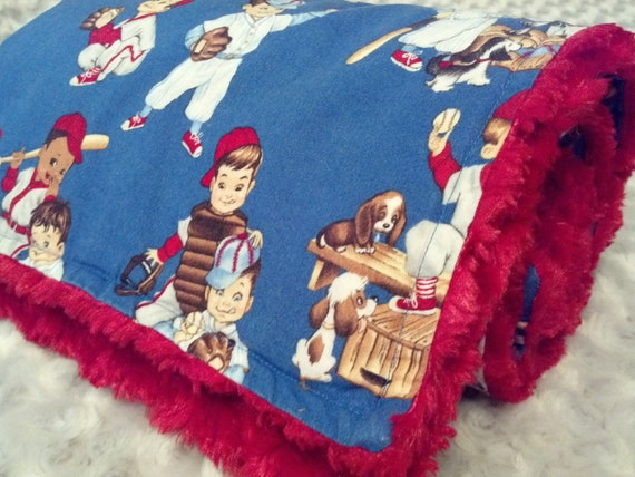 Alexander Henry Retro Baseball Player Kids Little League Baby Blanket with Red Minky Swirl