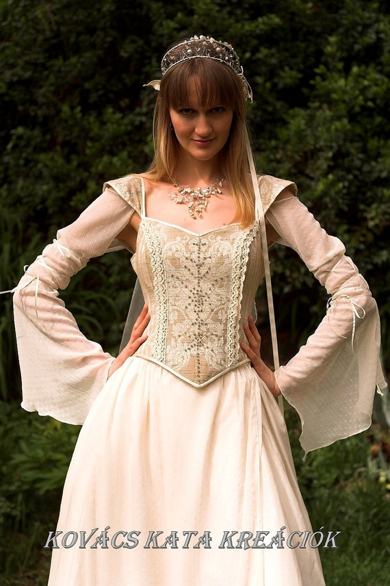 Medieval renaissance style alternative corset wedding gown for Medieval style wedding dress