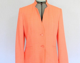 Vintage Jacket Coral Pink Salmon. 1980s Invented Collar  Blazer. Size Medium.  Mad Men Fashion. Pastel Color.