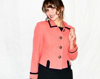 Vintage  Albert Nipon  Short Jacket. Small Petite. Coral Blazer 80s Mad Men Fashion. Designer Blazer