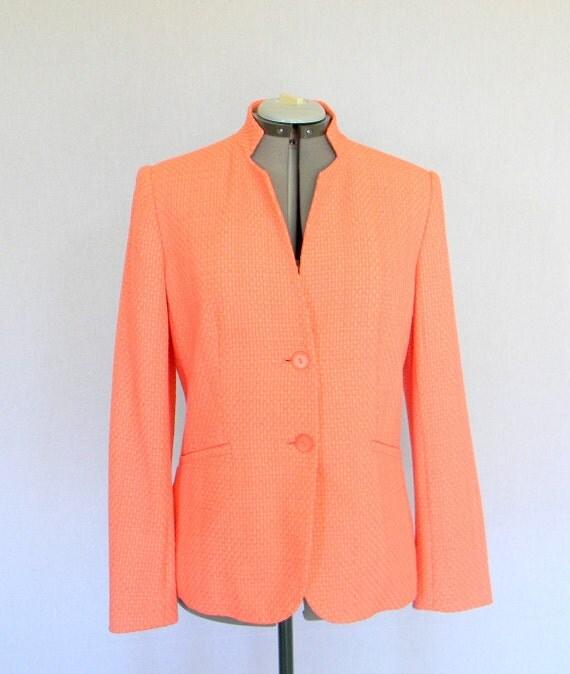 Vintage Jacket Coral Pink Salmon. 1980s Invented Collar  Blazer. Size Medium.  Mad Men Fashion. Pastel Color.