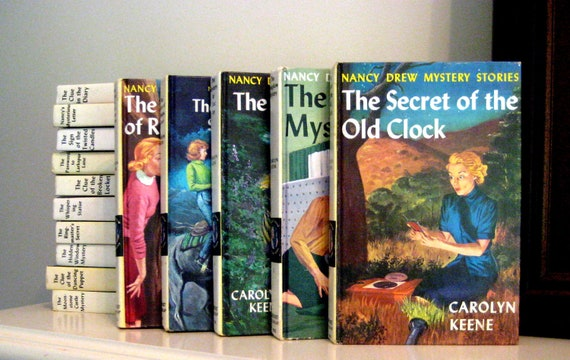 Vintage children's books, Nancy Drew Mysteries, Carolyn Keene, set of 16 hardcover, color cover books, instant collection