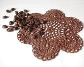 Small crochet doily Chocolate brown doily Handmade cotton lace doily Crochet doilies coffee