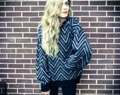 Repurposed / Recycled Vintage Grey Black Chevron Silver Metal Stud Collar Shoulder Oversized Sweater