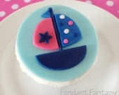 Pink and Navy Sailboat Cupcake Topper