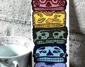 "Ancient Stone Carving Mini Painting, South American art, 3""x7"" illustration, rainbow decor"