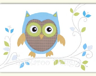 Nursery Art Print, Baby Boy Nursery, Owl Decor, Owl Art, Owl Print, Kids Wall Art, Ollie The Owl - PRINT
