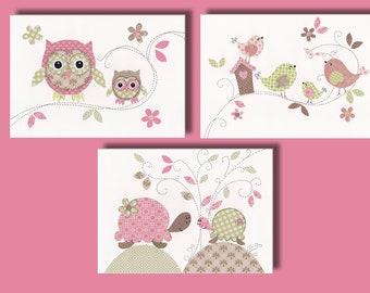 "Baby Girl Nursery Art, Owl Decor, Kids Bird Wall Art Print, Tortoise, Bird House, Pink, Green 11x14"" Print, Treetop Love Set Of 3 Prints"