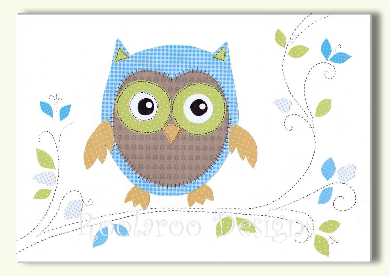 nursery art print baby boy nursery owl decor owl art owl