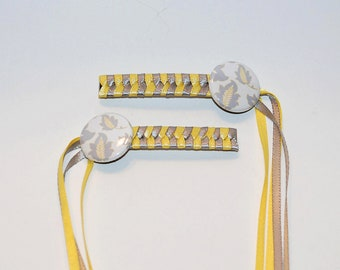 Braided Ribbon Hair Barrettes with Gold and Grey Wheat Buttons