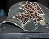 Distressed Camo Leopard Bling Cross Hat