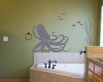 Octopus and Fish Underwater Scene Removeable Vinyl Wall Art, octopus decal fish seaweed starfish bathroom wall art octopus wall sticker