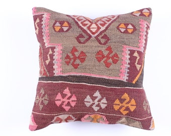 """Modern Bohemian Home Decor,Turkish Wool Pillow Cover 16"""" X 16"""",Tribal Pillow,Kilim Ebroidery Pillow,Vintage Kilim Pillow, riot of color"""