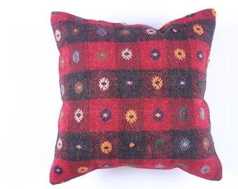 "Modern Bohemian Home Decor,Turkish Kilim Pillow Cover 16"" X 16"",Tribal Pillow,Kilim Ebroidery Pillow,Vintage Kilim Pillow, riot of color"
