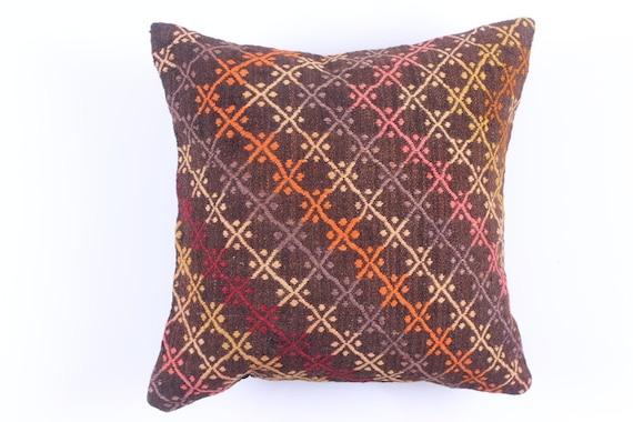 VINTAGE Wool Pillow Case - VINTAGE Turkish decorative kilim pillow cover,16''X16'', Bohemian Home Decor, cushion cover