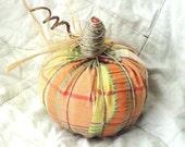 Fabric Pumpkin Hemp Stem Rafia Detail