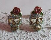 Rhinestone sugar skull with flower earrings