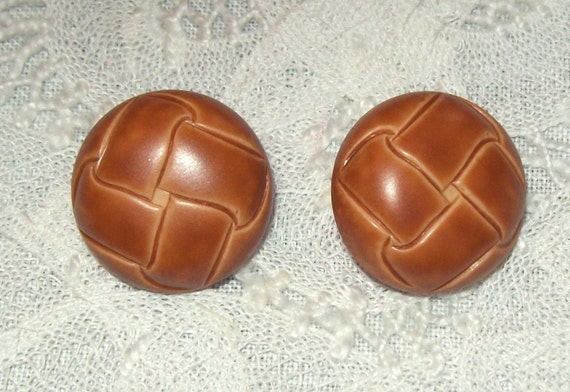 Two Vintage Button Set Faux Leather Shank Back Buttons Medium Size 3/4""