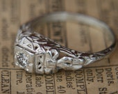 Diamond Engagement Ring Antique Reproduction in Sterling Silver