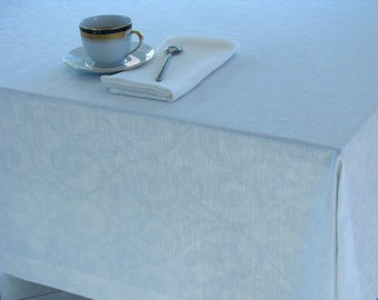 Linen Tablecloth / Damask / White