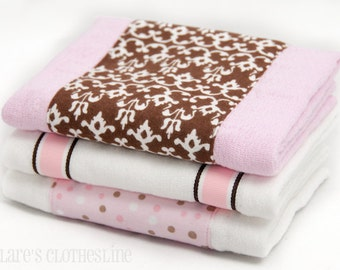 Baby Burp Cloths - Pink and Brown Burp Cloth Set of 3 - READY TO SHIP