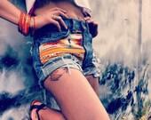 High Waisted Distressed Tan Aztec/ Tribal print Denim Shorts