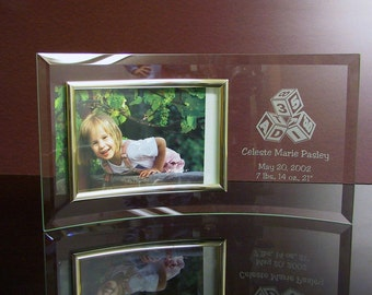 Custom Etched Curved Glass Picture Frame