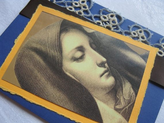 Condolence Sympathy Handmade Card with Catholic Mother of Sorrows