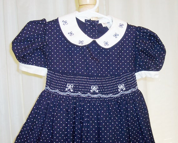 Size 2T - Vintage Toddler Dress - from m.c.Collection - Cotton - Smocking