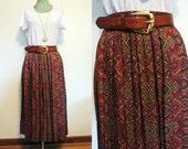 Vintage Susan Bristol Paisley Pleated Midi / Maxi Skirt