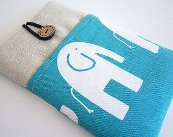 Elephant Kindle Sleeve, Kindle fire sleeve cover, nook cover, Google Nexus 7 case Blue