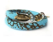 Blue spring sky Bead Crochet Necklace Bronze Bedwork  Jewelry  Made to order