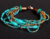 """bracelet """"turquoise&leather 2"""", beads and leather bracelet for boho style lady or gentleman"""