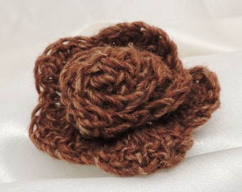 Rich Brown Crocheted Flower