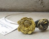 Mustard Ash Headband Design- Mustard Yellow and Corduroy Charcoal Grey Fabric Rose Flower Headband Wedding- Dainty Rose - Classy Line
