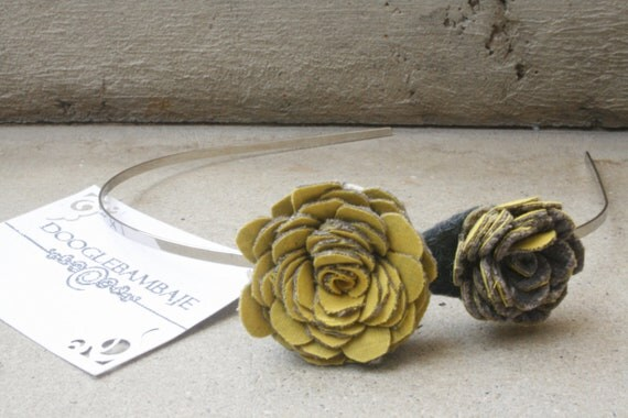 Mustard Ash Headband Design- Mustard Yellow and Corduroy Charcoal Grey Fabric Rose Flower Headband Wedding- Dainty Rose - Classy Line