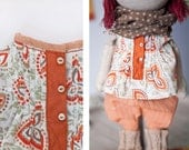 Doll clothes - Nice paisley shirt  for handmade fabric art doll